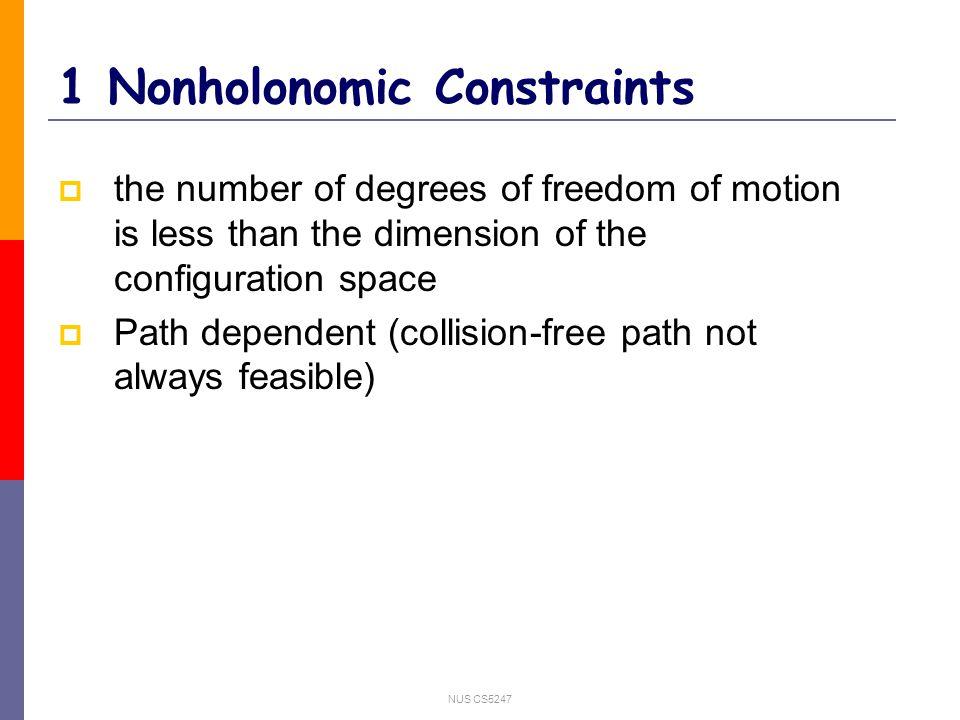 NUS CS5247 1.Nonholonomic Constraints Forward car-like Robot Start Not possible for forward Car-like Robot Path Dependent
