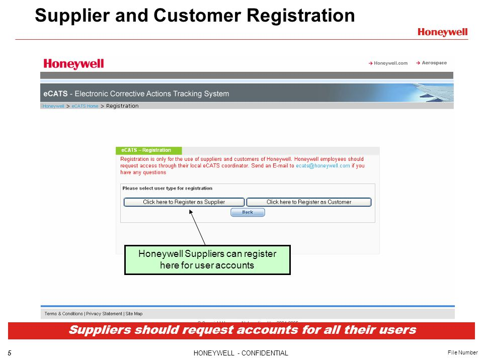 6HONEYWELL - CONFIDENTIAL File Number External Supplier Registration The Honeywell LDAP field is populated automatically from the Honeywell account used to login to eCATS.