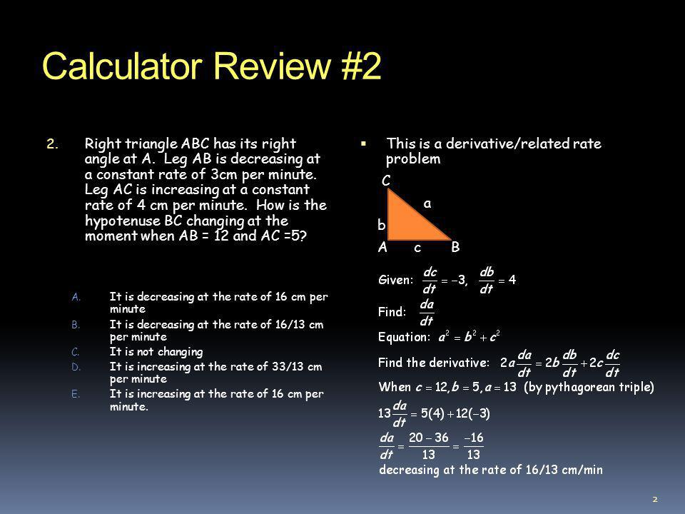 Calculator Review #2 3.A. 2.163 B. 2.660 C. 2.780 D.