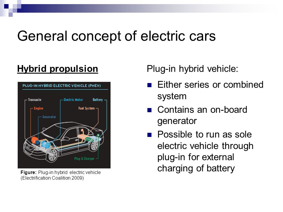 General concept of electric cars Hybrid propulsionPlug-in hybrid vehicle: Either series or combined system Contains an on-board generator Possible to