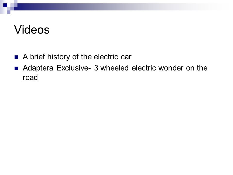 Videos A brief history of the electric car Adaptera Exclusive- 3 wheeled electric wonder on the road