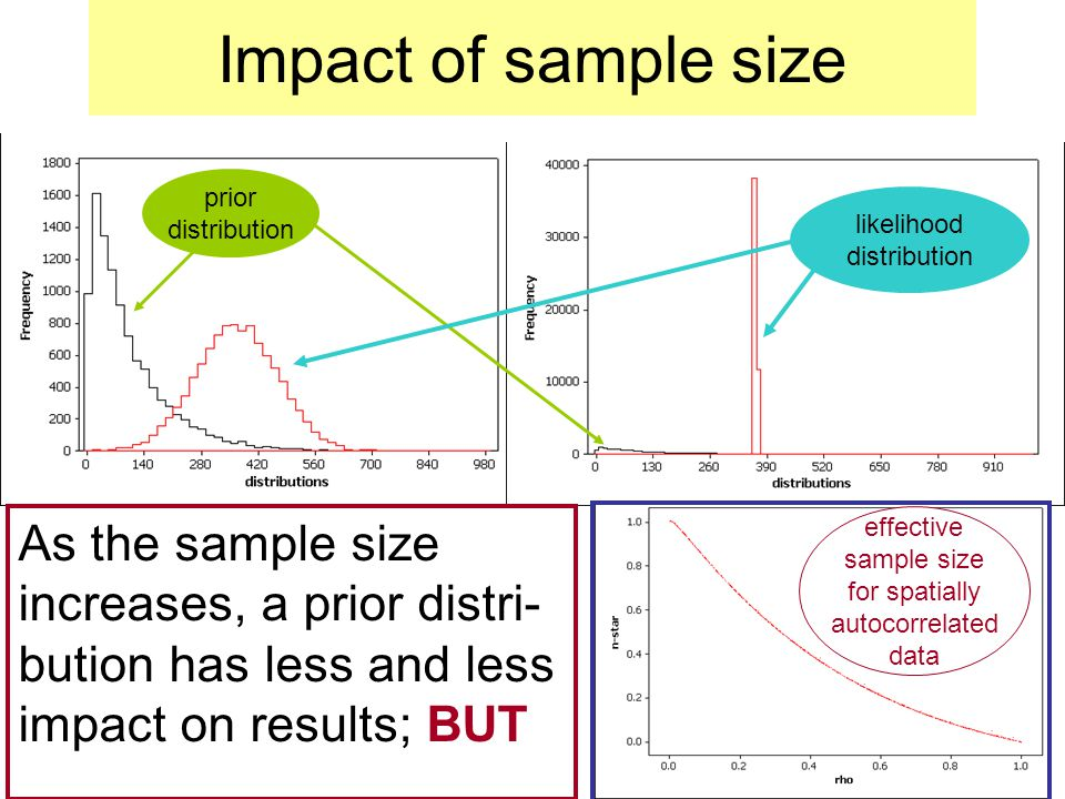 Impact of sample size prior distribution likelihood distribution As the sample size increases, a prior distri- bution has less and less impact on results; BUT effective sample size for spatially autocorrelated data