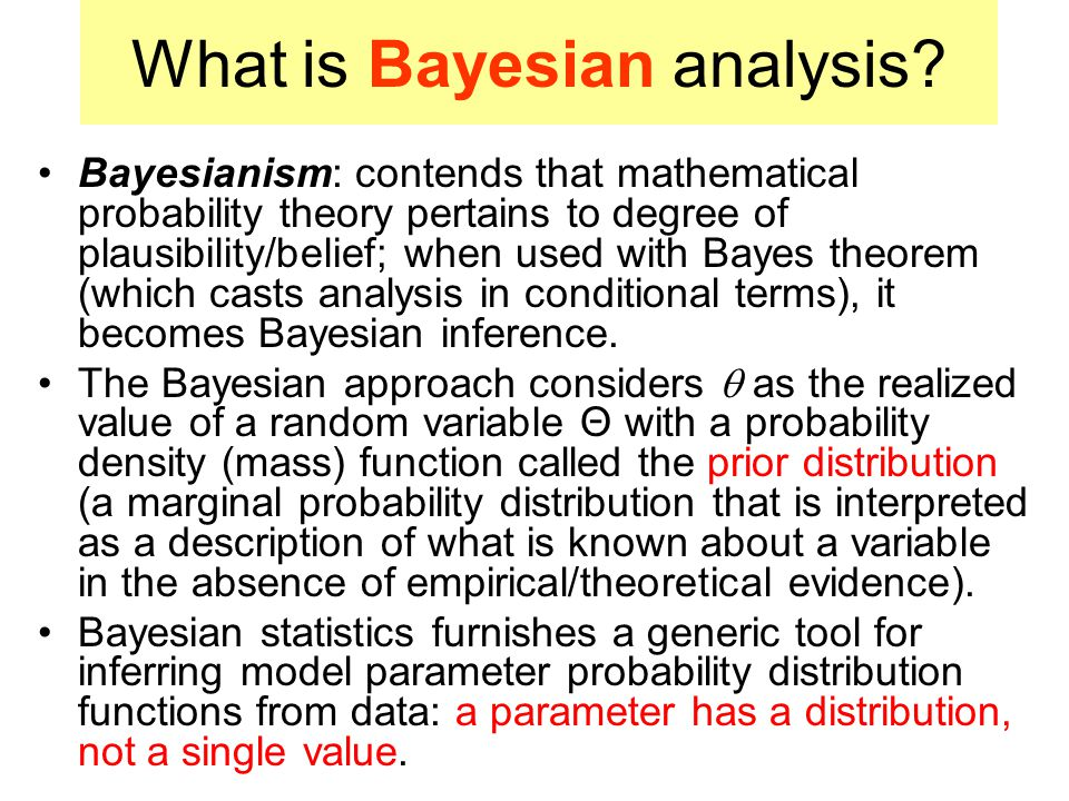 The Bayesian interpretation of probability allows (proper prior) probabilities to be assigned subjectively to random events, in accordance with a researchers beliefs.