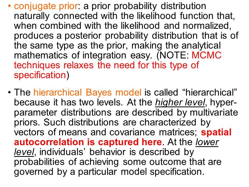 Model { for (i in 1:N) {m[i] <- 1/num[i]} cumsum[1] <- 0 for(i in 2:(N+1)) {cumsum[i] <- sum(num[1:(i-1)])} for(k in 1 : sumNumNeigh) {for(i in 1:N){pick[k,i] <- step(k - cumsum[i] - epsilon)*step(cumsum[i+1] - k) # pick[k,i] = 1 if cumsum[i] < k <= cumsum[i=1]; otherwise, pick[k,i] = 0} C[k] <- sqrt(num[adj[k]]/inprod(num[], pick[k,])) # weight for each pair of neighbours} epsilon <- 0.0001 for (i in 1 : N) { U[i] ~ dbin(p[i], T[i]) p[i] <- exp(S[i])/(1+exp(S[i])) theta[i] <- alpha} # proper CAR prior distribution for random effects: S[1:N] ~ car.proper(theta[],C[],adj[],num[],m[],prec,rho) for(k in 1:sumNumNeigh) {weights[k] <- 1} # Other priors: alpha ~ dnorm(0,0.0001) prec ~ dgamma(0.5,0.0005) # prior on precision sigma <- sqrt(1/prec) # standard deviation rho.min <- min.bound(C[],adj[],num[],m[]) rho.max <- max.bound(C[],adj[],num[],m[]) rho ~ dunif(rho.min,rho.max) }