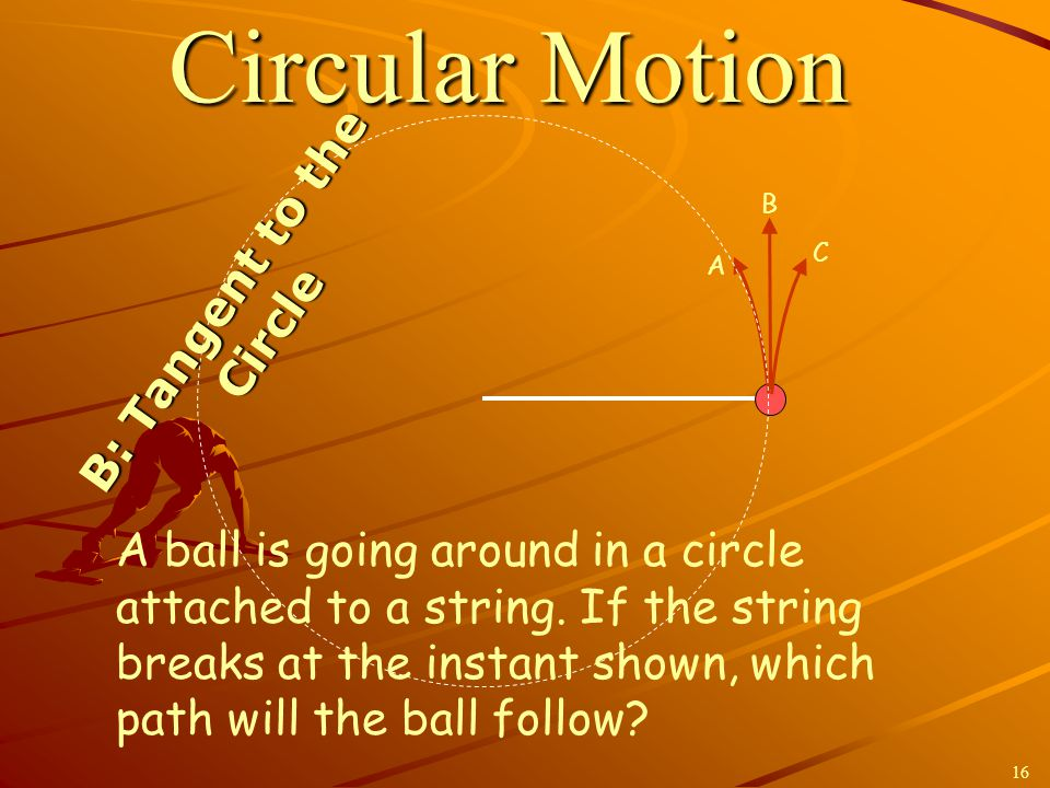 A B C Circular Motion A ball is going around in a circle attached to a string. If the string breaks at the instant shown, which path will the ball fol