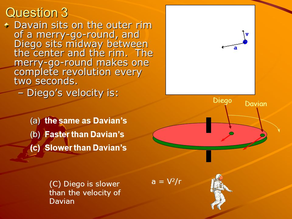 Summary Uniform Circular Motion –Speed is constant –Direction is changing –Acceleration toward center a = v 2 / r –Newtons Second Law F = ma
