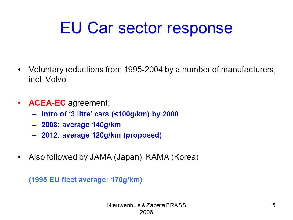 Nieuwenhuis & Zapata BRASS 2006 5 EU Car sector response Voluntary reductions from 1995-2004 by a number of manufacturers, incl.