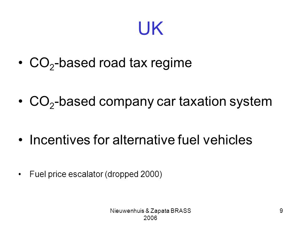 Nieuwenhuis & Zapata BRASS 2006 9 UK CO 2 -based road tax regime CO 2 -based company car taxation system Incentives for alternative fuel vehicles Fuel price escalator (dropped 2000)