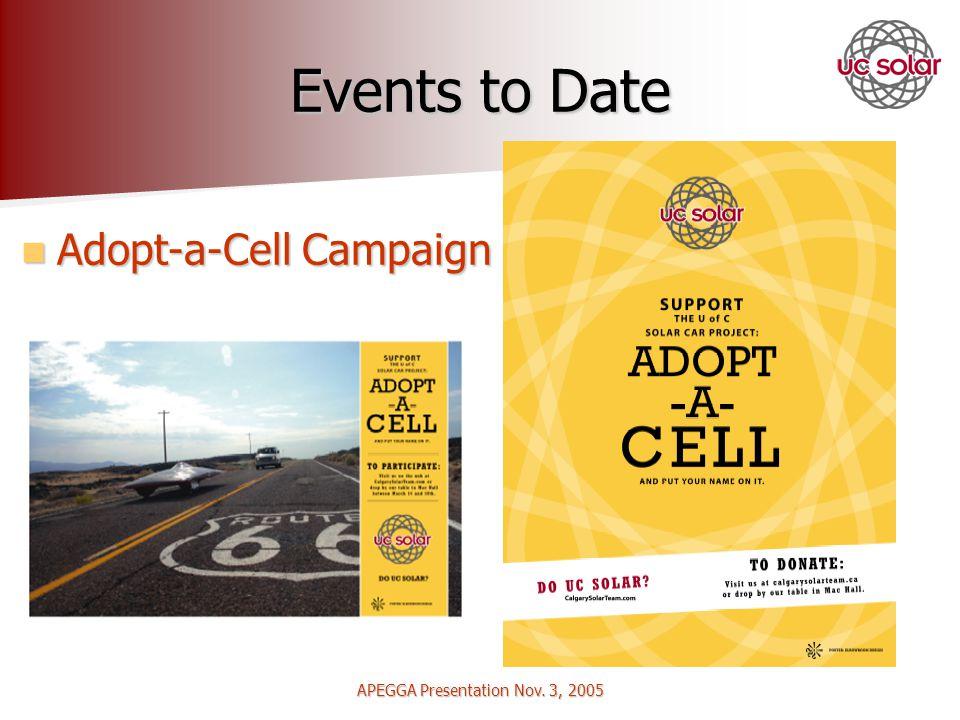 APEGGA Presentation Nov. 3, 2005 Events to Date Adopt-a-Cell Campaign Adopt-a-Cell Campaign
