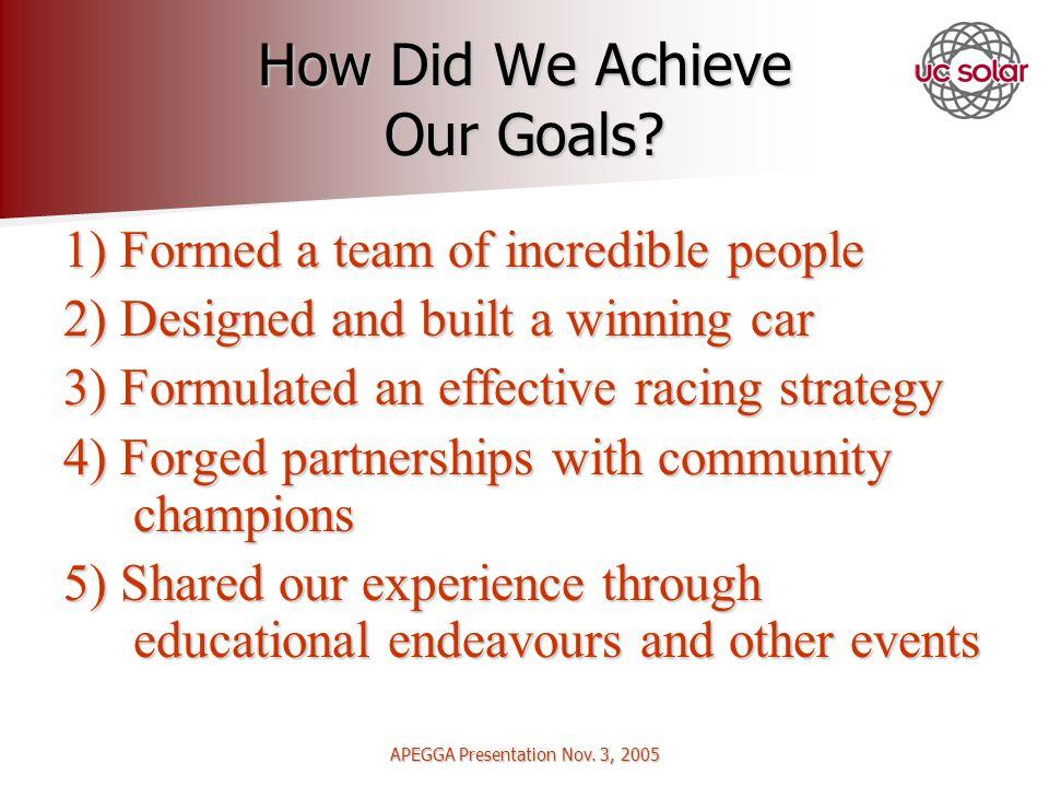 APEGGA Presentation Nov. 3, 2005 How Did We Achieve Our Goals.