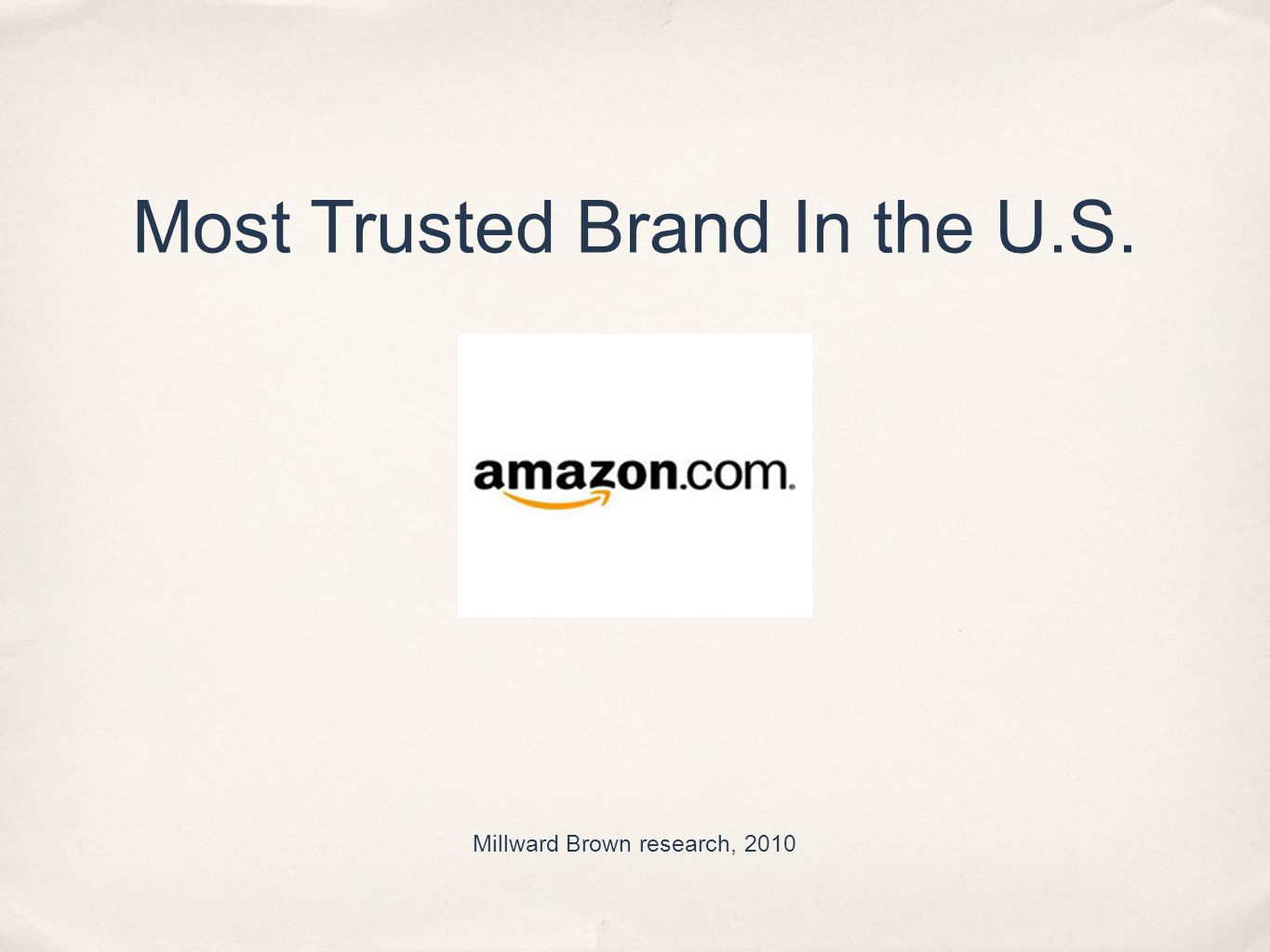 Most Trusted Brand In the U.S. Millward Brown research, 2010