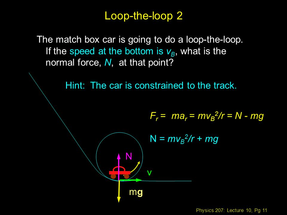 Physics 207: Lecture 10, Pg 11 The match box car is going to do a loop-the-loop.