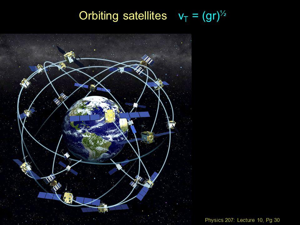 Physics 207: Lecture 10, Pg 30 Orbiting satellites v T = (gr) ½