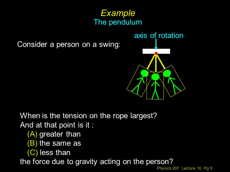 Physics 207: Lecture 10, Pg 6 Example The pendulum Consider a person on a swing: When is the tension on the rope largest.