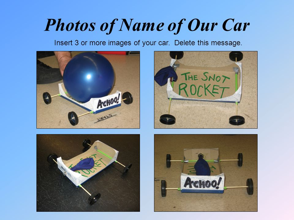 Photos of Name of Our Car Insert 3 or more images of your car. Delete this message.