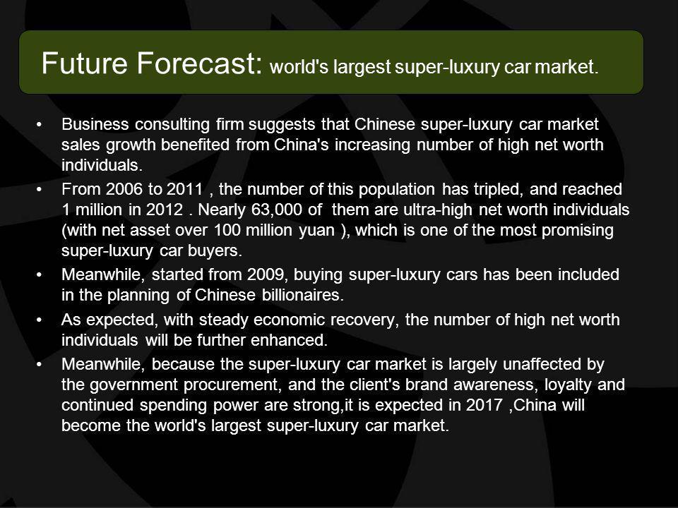 Future Forecast: world s largest super-luxury car market.