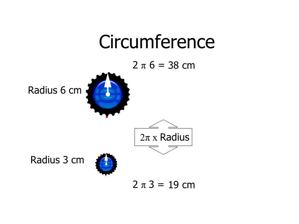 Circumference Radius 6 cm Radius 3 cm 2π x Radius 2 π 3 = 2 π 6 = 38 cm 19 cm
