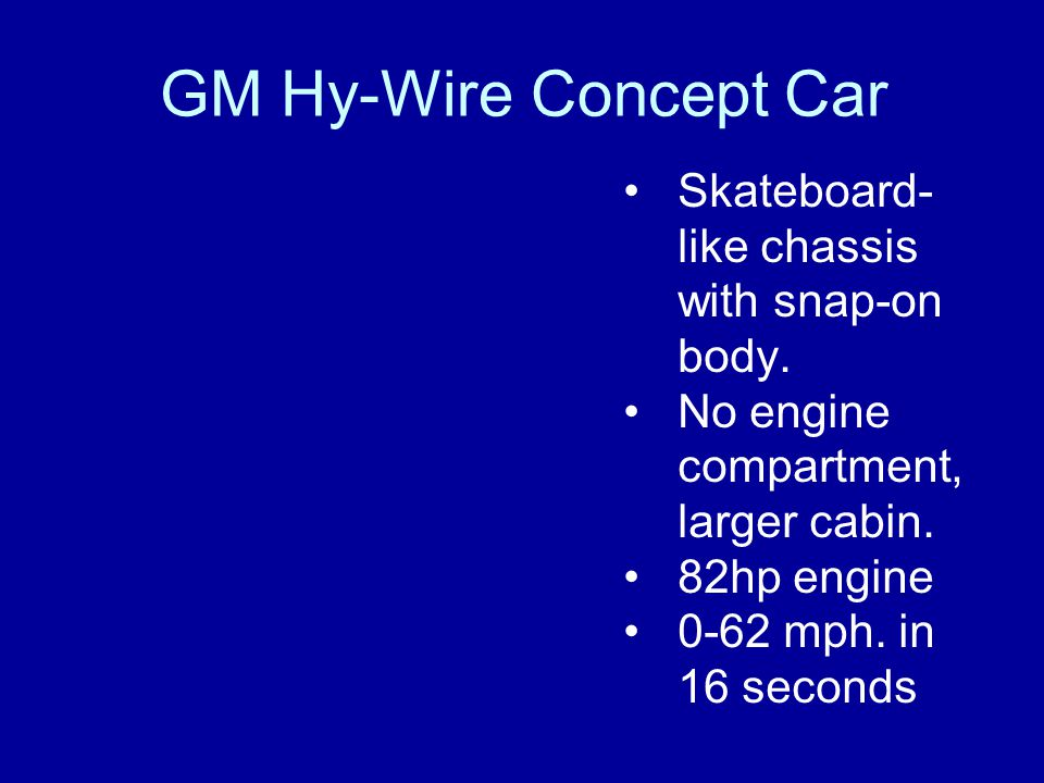 GM Hy-Wire Concept Car Skateboard- like chassis with snap-on body. No engine compartment, larger cabin. 82hp engine 0-62 mph. in 16 seconds