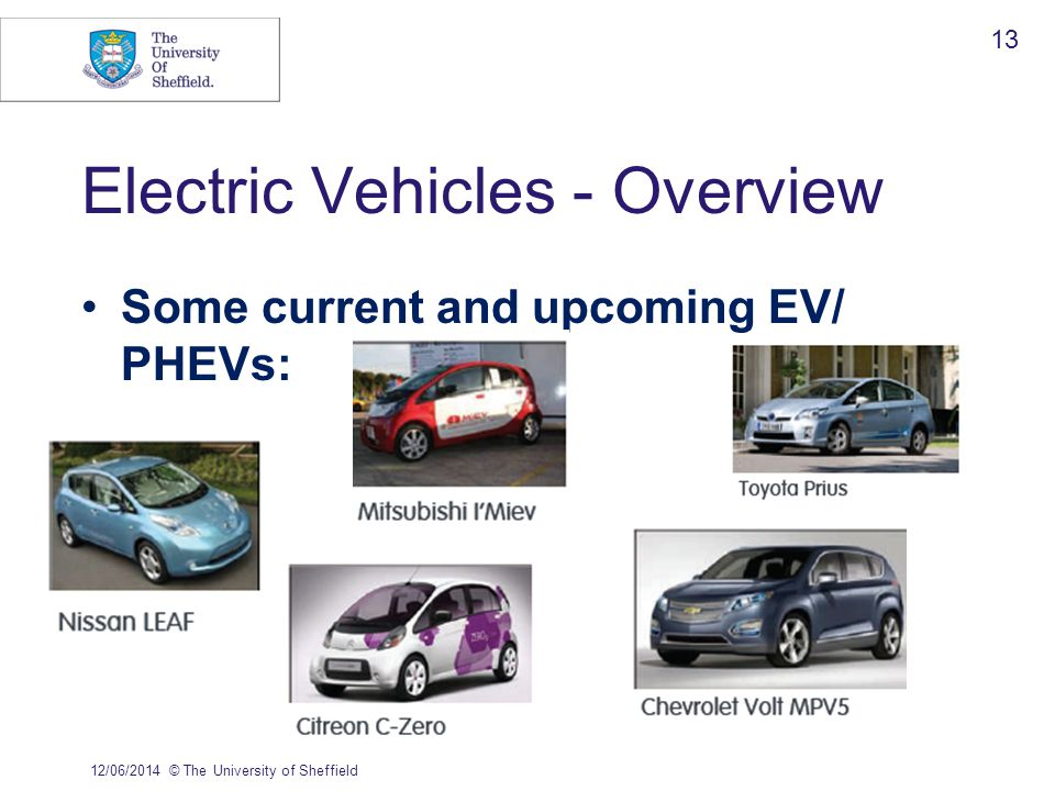 Electric Vehicles - Overview Some current and upcoming EV/ PHEVs: 12/06/2014© The University of Sheffield 13