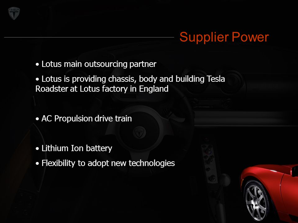 Supplier Power Lotus main outsourcing partner Lotus is providing chassis, body and building Tesla Roadster at Lotus factory in England AC Propulsion d