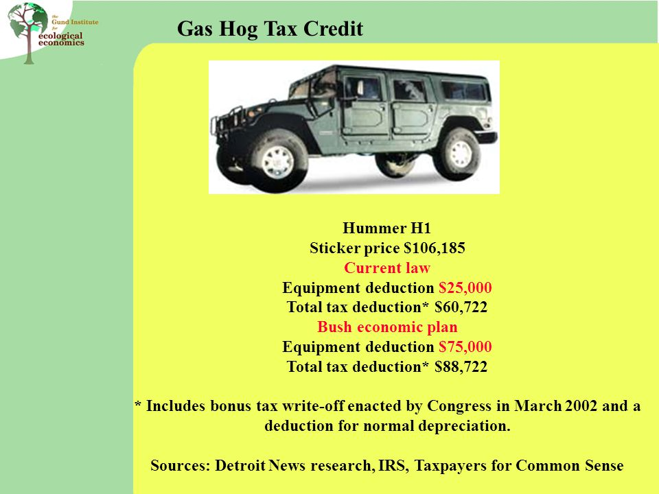 Hummer H1 Sticker price $106,185 Current law Equipment deduction $25,000 Total tax deduction* $60,722 Bush economic plan Equipment deduction $75,000 Total tax deduction* $88,722 * Includes bonus tax write-off enacted by Congress in March 2002 and a deduction for normal depreciation.