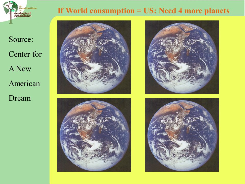 Source: Center for A New American Dream If World consumption = US: Need 4 more planets
