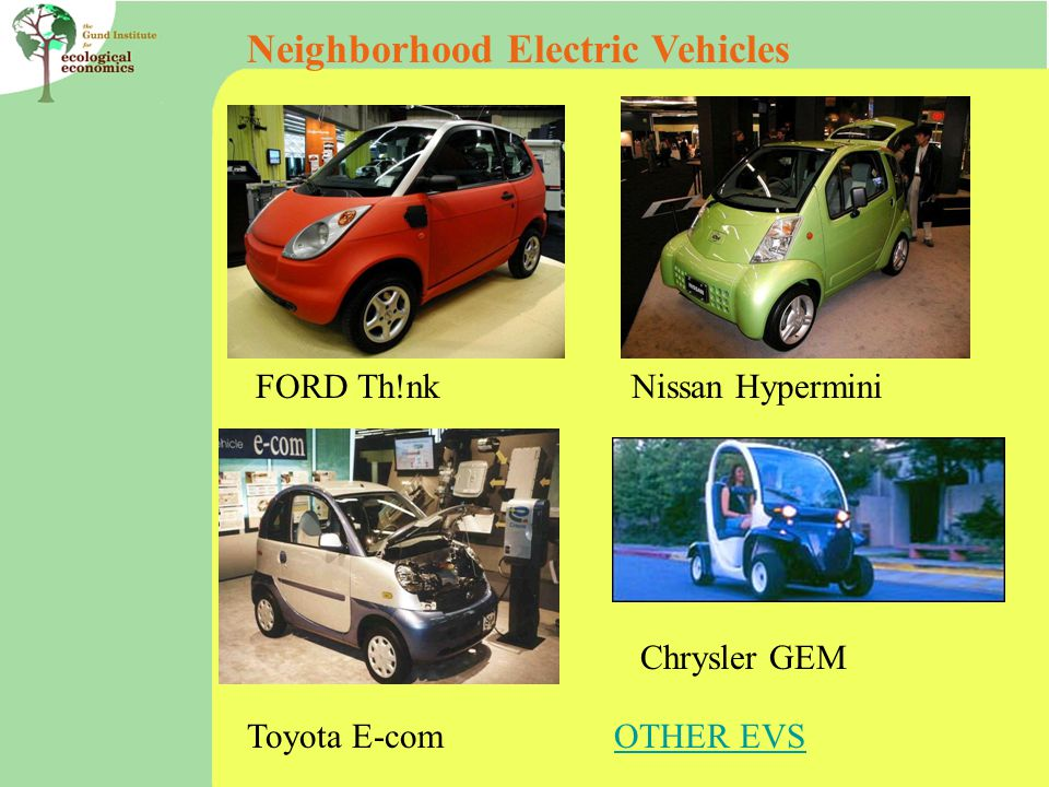 Neighborhood Electric Vehicles FORD Th!nkNissan Hypermini Toyota E-com Chrysler GEM OTHER EVS