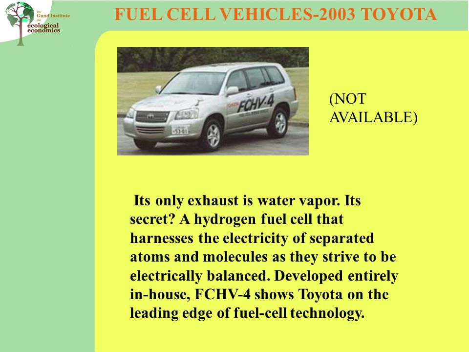 FUEL CELL VEHICLES-2003 TOYOTA Its only exhaust is water vapor.