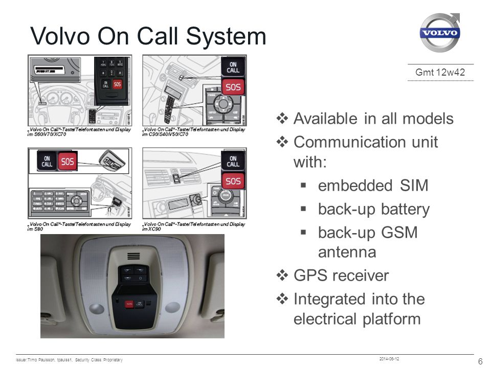 Gmt 12w42 2014-06-12 1.SIM-Card reader connection 2.GSM antenna 3.Main power 4.MOST connection 5.GPS antenna Volvo On Call System Issuer:Timo Paulsson, tpaulss1, Security Class: Proprietary 7