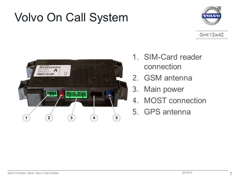Gmt 12w42 2014-06-12 8 6/12/2014 Evolution of Volvo On Call 1996 Volvo Cars completes study of telematics and decides to invest in systems and services 1997 Projects started in Europe and US 1999 Volvo decides on centralised message handling.