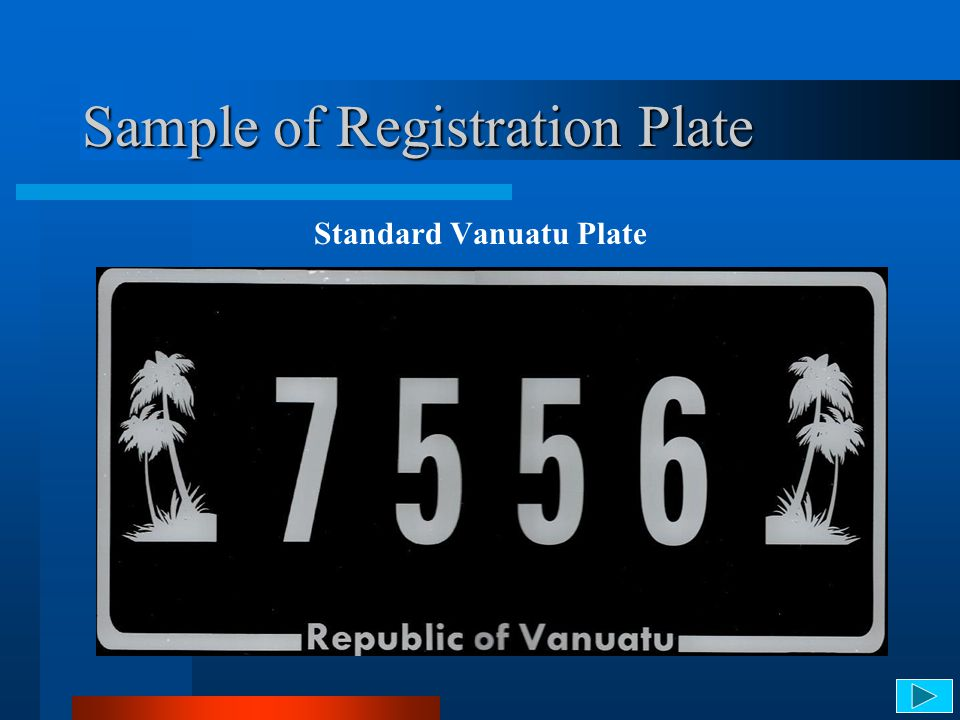 Sample of Registration Plate Standard Vanuatu Plate