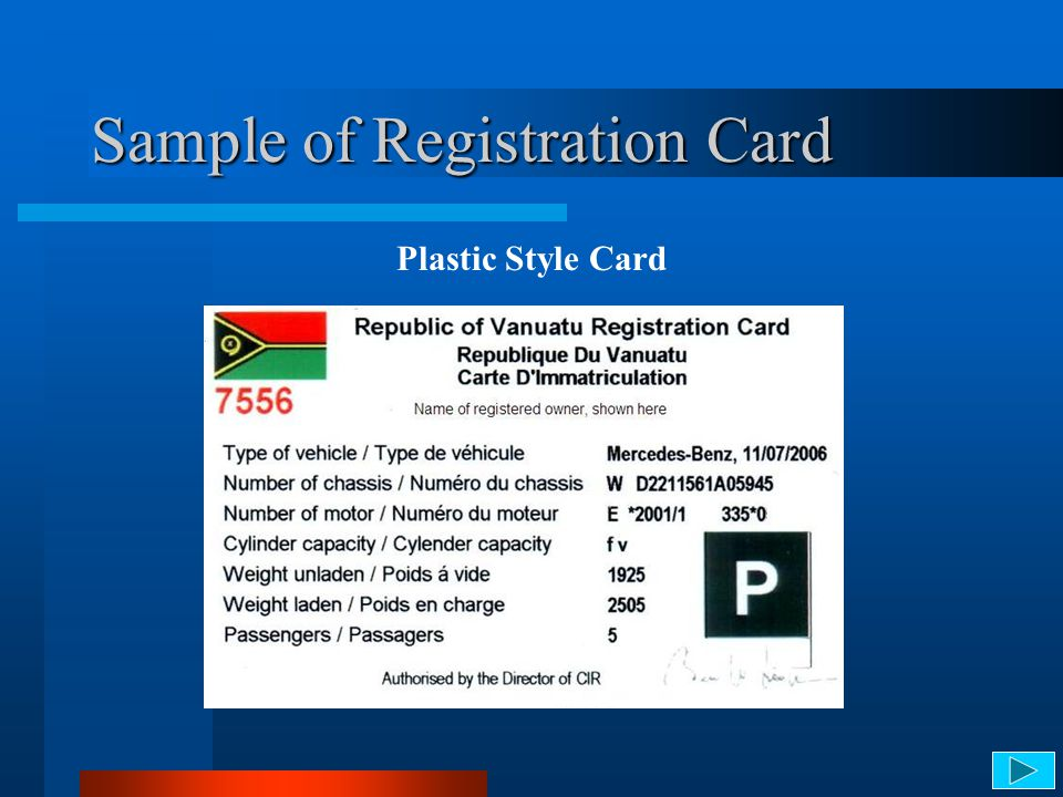 Sample of Registration Card Plastic Style Card