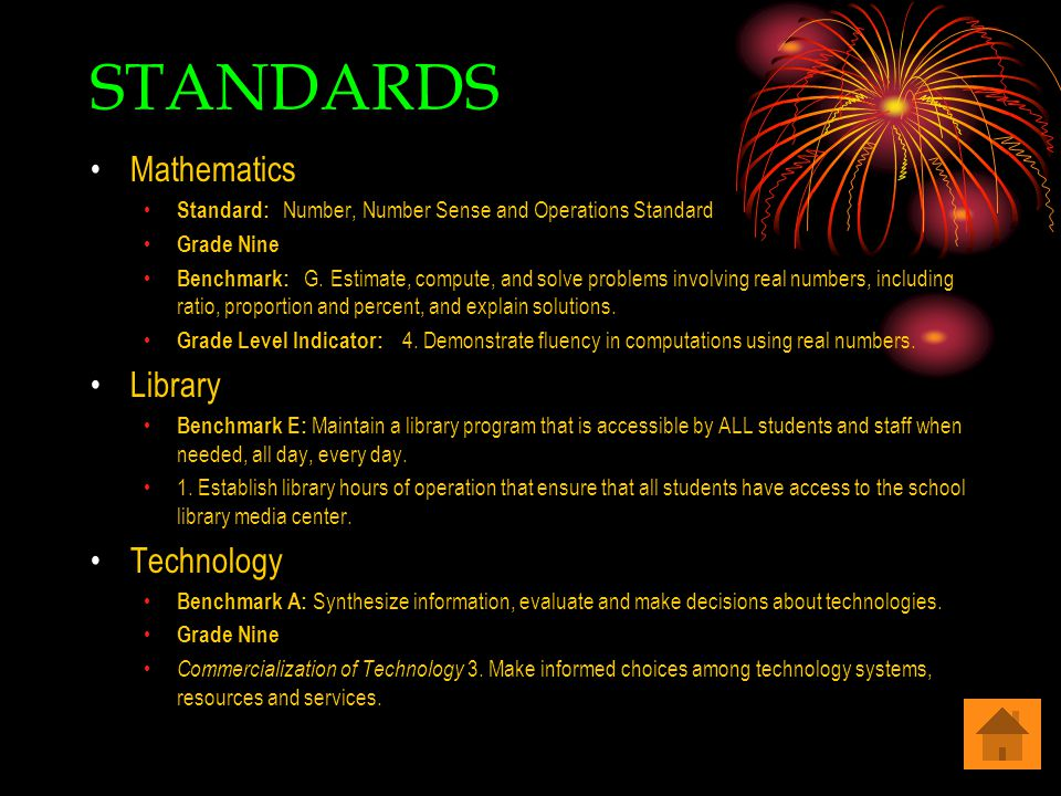 STANDARDS Mathematics Standard: Number, Number Sense and Operations Standard Grade Nine Benchmark: G.