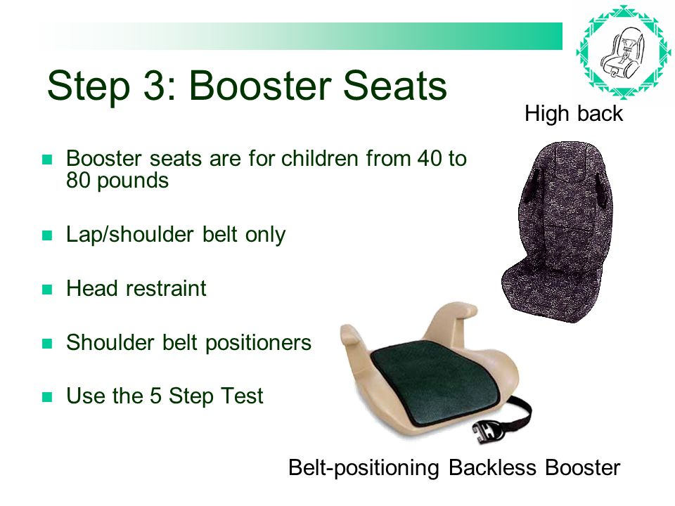 Step 3: Booster Seats Booster seats are for children from 40 to 80 pounds Lap/shoulder belt only Head restraint Shoulder belt positioners Use the 5 Step Test High back Belt-positioning Backless Booster