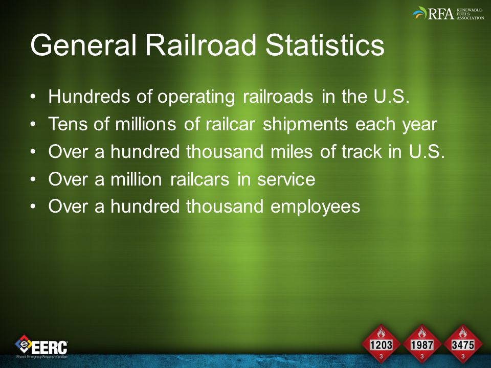 Railroad Statistics for Hazmat Over a million loads of hazardous materials are shipped via rail Ethanol is over a quarter of total number of hazmat shipments About three-quarters of the transportation of ethanol is conducted via rail Ethanol is over one percent of all railroad shipments