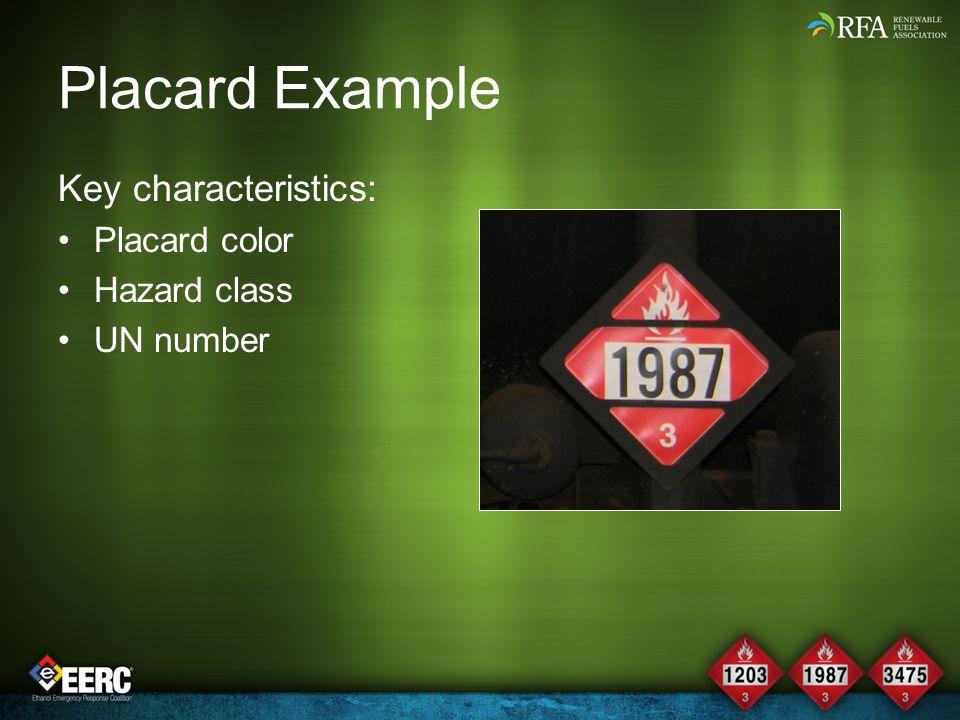 Placard Example Key characteristics: Placard color Hazard class UN number