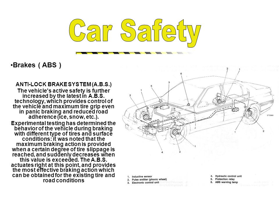 Brakes ( ABS ) ANTI-LOCK BRAKE SYSTEM (A.B.S.) The vehicle s active safety is further increased by the latest in A.B.S.