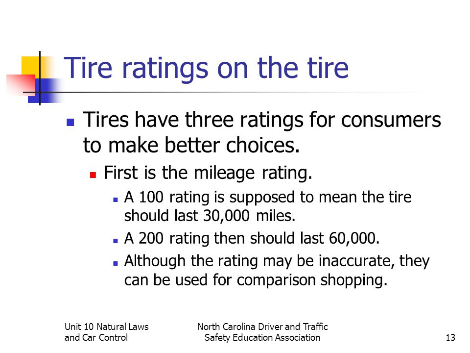 Unit 10 Natural Laws and Car Control North Carolina Driver and Traffic Safety Education Association13 Tire ratings on the tire Tires have three rating