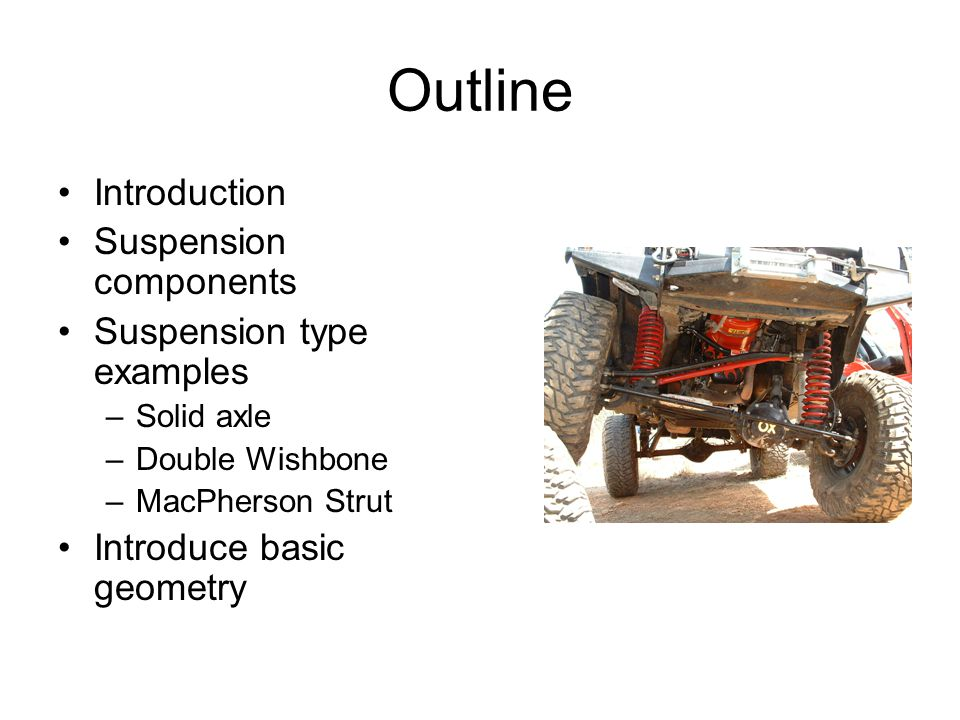 Outline Introduction Suspension components Suspension type examples –Solid axle –Double Wishbone –MacPherson Strut Introduce basic geometry