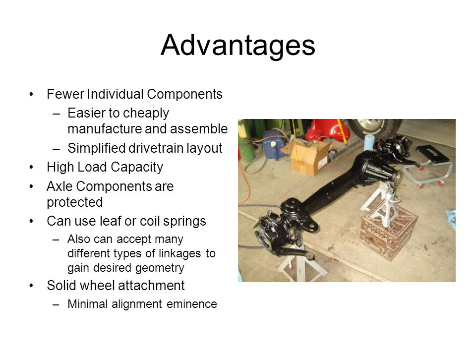 Advantages Fewer Individual Components –Easier to cheaply manufacture and assemble –Simplified drivetrain layout High Load Capacity Axle Components ar