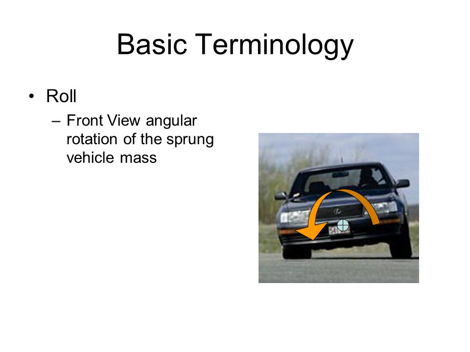 Basic Terminology Roll –Front View angular rotation of the sprung vehicle mass