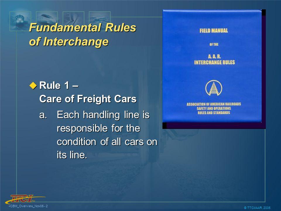 TM <CBM_Overview_Nov05 - 3 © TTCI/AAR, 2005 Fundamental Rules of Interchange u Rule A.1.