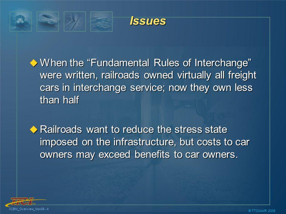 TM <CBM_Overview_Nov05 - 15 © TTCI/AAR, 2005 Distribution of Benefits