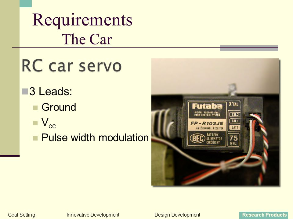 3 Leads: Ground V cc Pulse width modulation Goal SettingInnovative DevelopmentDesign DevelopmentResearch Products Requirements The Car