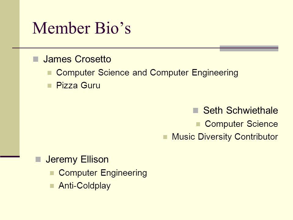 Member Bios James Crosetto Computer Science and Computer Engineering Pizza Guru Seth Schwiethale Computer Science Music Diversity Contributor Jeremy E