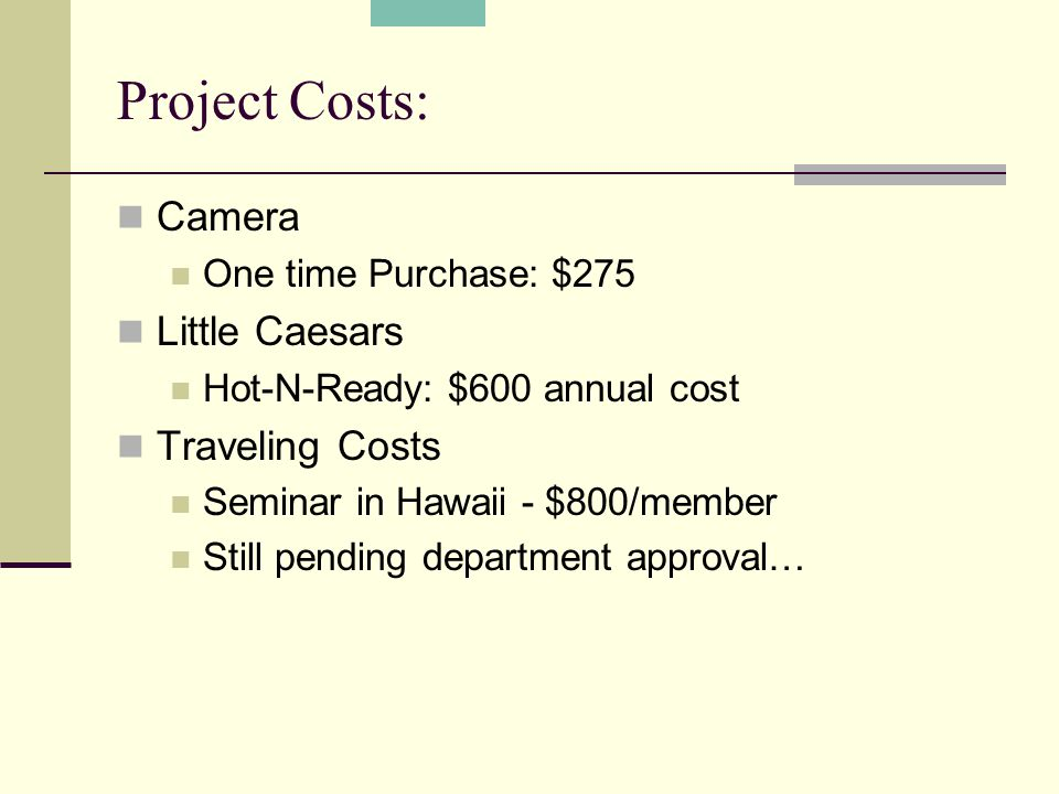 Project Costs: Camera One time Purchase: $275 Little Caesars Hot-N-Ready: $600 annual cost Traveling Costs Seminar in Hawaii - $800/member Still pendi