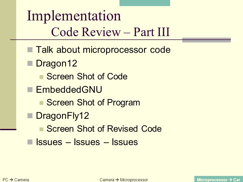 Talk about microprocessor code Dragon12 Screen Shot of Code EmbeddedGNU Screen Shot of Program DragonFly12 Screen Shot of Revised Code Issues – Issues – Issues PC CameraCamera MicroprocessorMicroprocessor Car Implementation Code Review – Part III