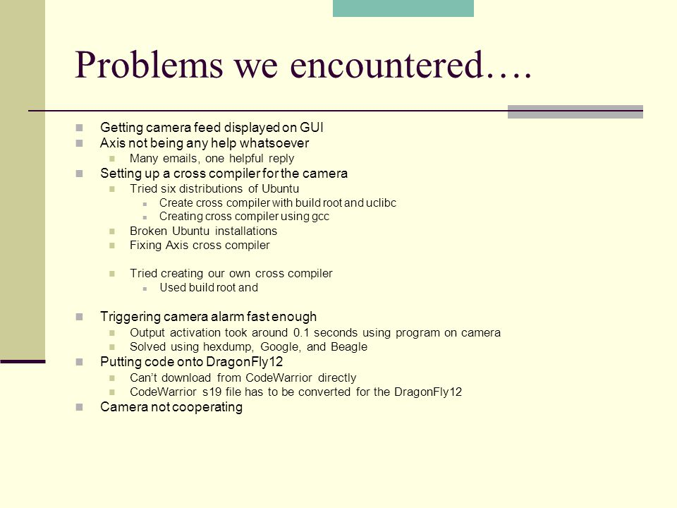 Problems we encountered….