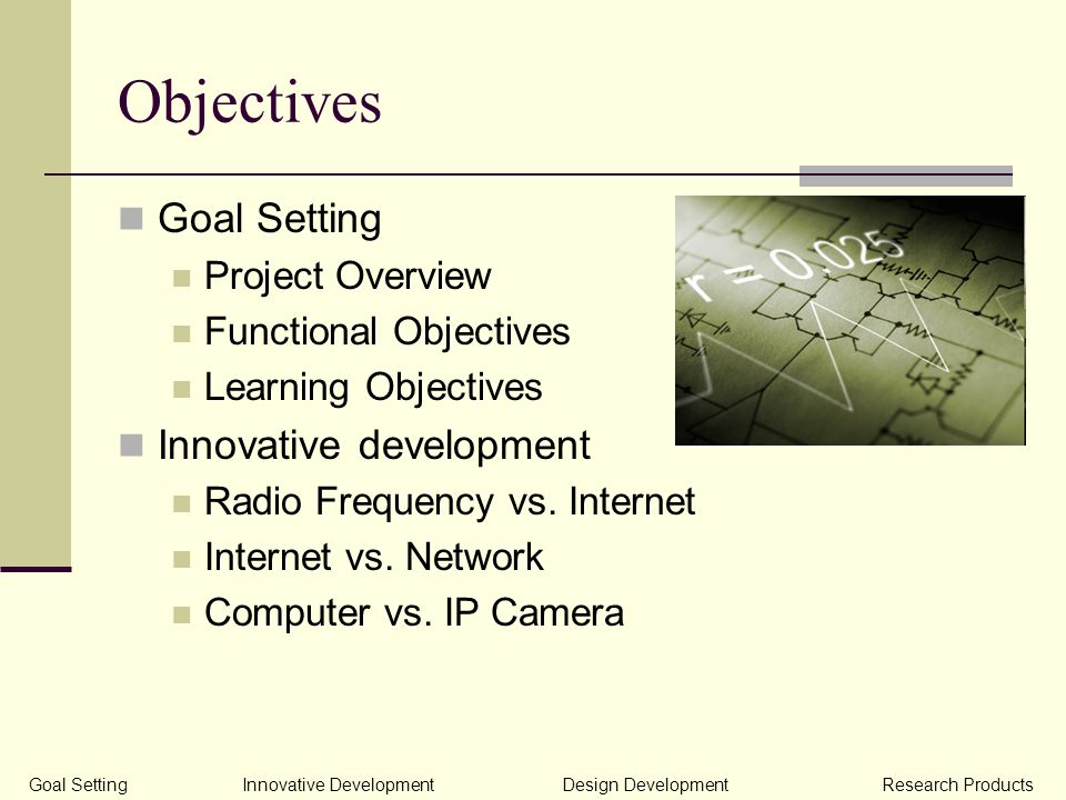 Objectives Goal Setting Project Overview Functional Objectives Learning Objectives Innovative development Radio Frequency vs.