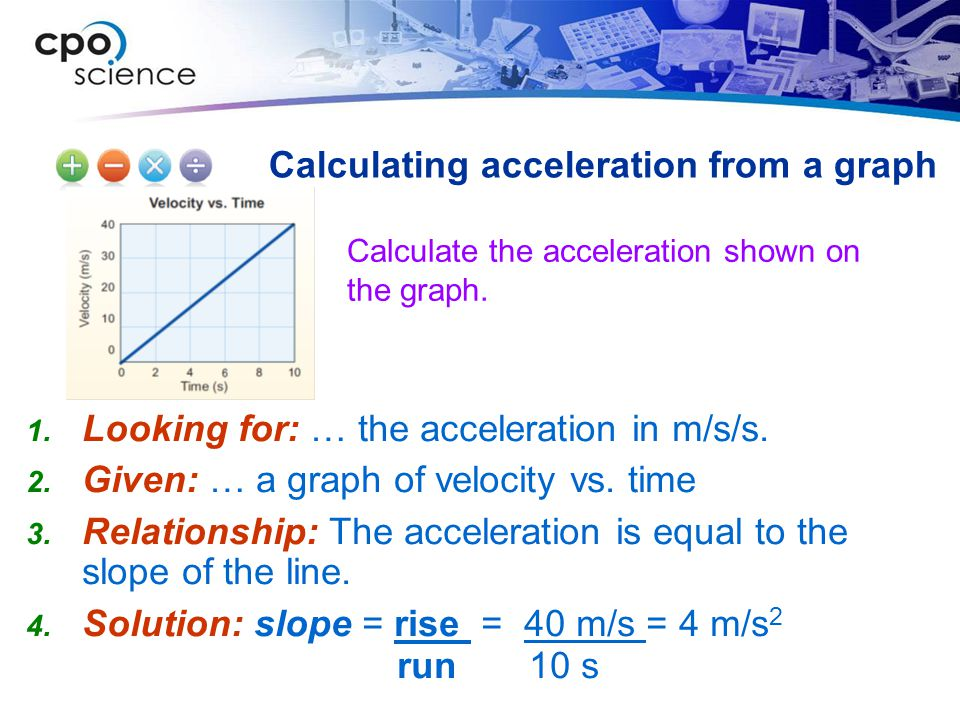 Calculate the acceleration shown on the graph. Calculating acceleration from a graph Looking for: … the acceleration in m/s/s. Given: … a graph of vel